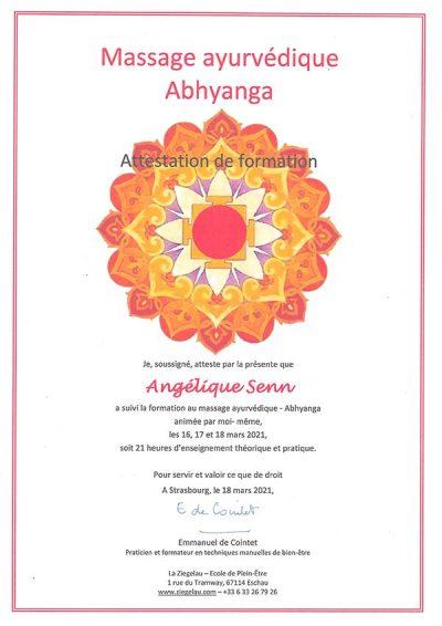 certificat ayurvédique